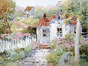 Fence Painting Prints - Summer Time Cottage Print by Joyce Hicks
