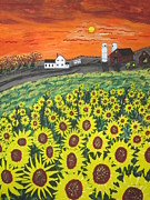 Pasture Painting Posters - Sunflower Valley Farm Poster by Jeffrey Koss