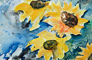 Gruenwald Painting Framed Prints - Sunflowers Framed Print by Ismeta Gruenwald
