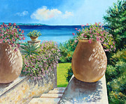 Picturesque Digital Art Prints - Sunny Terrace Print by Jean-Marc Janiaczyk