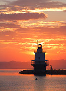 Casco Bay Posters - Sunrise at Spring Point Lighthouse Poster by Diane Diederich