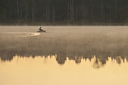 Balance In Life Photos - Sunrise in fog Lake Cassidy with fisherman in small fishing boat by Jim Corwin