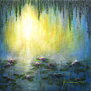 Jerome Stumphauzer Posters - Sunrise With Water Lilies Poster by Jerome Stumphauzer