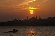 Turkey Metal Prints - Sunset at Historical Peninsula in Istanbul Metal Print by Ayhan Altun