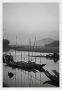 B W Posters - sunset at Mae Khong river Poster by Setsiri Silapasuwanchai