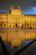 Glass Reflecting Prints - Sunset at Musee du Louvre Print by Brian Jannsen
