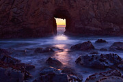 Surf Silhouette Framed Prints - Sunset on Arch Rock in Pfeiffer Beach Big Sur in California. Framed Print by Jamie Pham