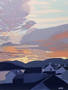 Sunset Scenes. Painting Framed Prints - Sunset over the roofs Framed Print by Malcolm Warrilow