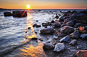 Cobble Prints - Sunset over water Print by Elena Elisseeva