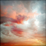 Orange Photos - Sunset sky by Les Cunliffe