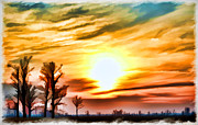 Photomanipulation Photo Prints - Sunset Sky So Mo  digital paint Print by Debbie Portwood