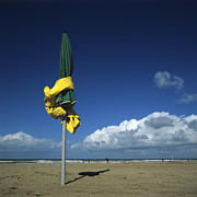 Coastlines Posters - Sunshades on the beach. Deauville. Normandy. France. Europe Poster by Bernard Jaubert