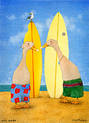Wax Painting Posters - Surf Quacks... Poster by Will Bullas