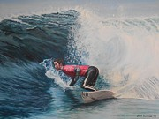 Surfing Art Paintings - Surfer by David Paterson
