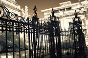 Savannah Architecture Posters - Surreal Gothic Savannah Mansion Iron Gates Poster by Kathy Fornal