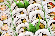 Rows Framed Prints - Sushi platter Framed Print by Elena Elisseeva