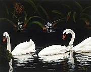 Swans... Paintings - Swans III by Jan Reid