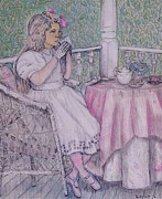 Girl Drawings - Tea Time for Alexis by Linda Simon