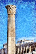 Temple Of Olympian Zeus And Acropolis Print by George Atsametakis
