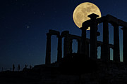 Sea Moon Full Moon Posters - Temple of Poseidon  Poster by Emmanuel Panagiotakis