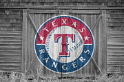 Baseball Glove Framed Prints - Texas Rangers Framed Print by Joe Hamilton