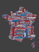 Featured Art - Text Map of France Map by Michael Tompsett
