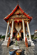 Exterior Digital Art Framed Prints - ThaI Temple Framed Print by Adrian Evans