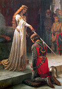 Guinevere Metal Prints - The Accolade Metal Print by Edmund Blair Leighton
