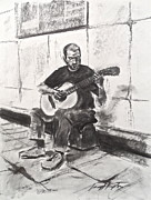 Guitar Drawings Posters - The Acoustic Man Poster by Wade Hampton