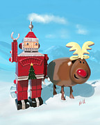 Kevin Hill Prints - The Adventures of Oh Deer and Robo Santa Print by Kevin Hill