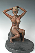 Nudes Sculpture Posters - The Bather Poster by Eduardo Gomez
