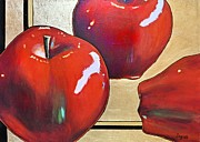 Gold Apples Framed Prints - The big Apple Framed Print by JAXINE Cummins