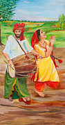 Punjab Posters - The Dhol Player Poster by Sarabjit Singh
