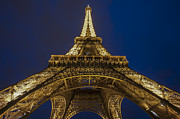 Cultural Icon Posters - The Eiffel Tower at night Poster by Ayhan Altun