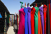 Dresses Art - The Fabric market at Ashgabat Sunday Market in Turkmenistan by Robert Preston