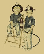 Children Prints Drawings - The Firefighters Sons by Diane Strain