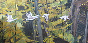 Impressionism Originals - The Five Snow Geese by Francois Fournier