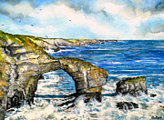 Grey Clouds Framed Prints - The Green Bridge of Wales Framed Print by Andrew Read