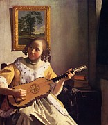 The Guitar Player Print by Johannes Vermeer