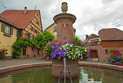 Alsace Framed Prints - The historical village Riquewihr in the Alsace Framed Print by Jan Marijs