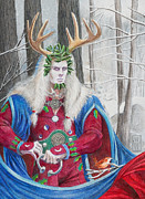 Midsummer Eve Art - The Holly King by Melissa A Benson