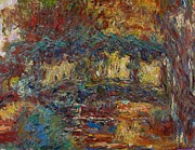 Willows Prints - The Japanese Bridge Print by Claude Monet