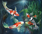 Koi Painting Posters - The Koi Pond Poster by Kathy Brecheisen