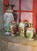 Pottery Paintings - The Lineup by Howard Scherer