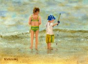 Kids Playing At Beach Prints - The Little Fisherman Print by Vicky Watkins