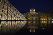 Louvre Museum Framed Prints - The Louvre Palace and the Pyramid at night Framed Print by RicardMN Photography