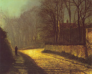 Moonlit Night Posters - The Lovers Poster by John Atkinson Grimshaw