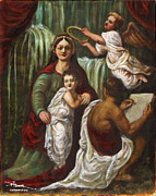 Catholic Art Painting Originals - The Madonna of the Waterfall by Dan Hammer