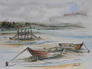 Netting Painting Prints - The Ole Fishing Village Print by David Camacho