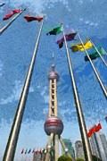 Transmission Painting Posters - The Oriental Pearl Tower Poster by George Atsametakis